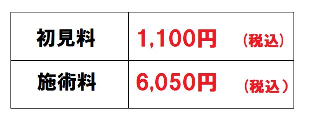 初見料1,100円 施術料6,050円