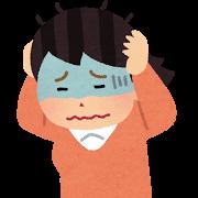 頭痛を伴う女性のイラスト