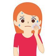 発汗をかんじている女性