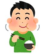 食物を良く噛む男性