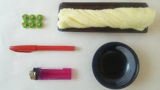 せんねん灸、おしぼり、ペン、灰皿、ライター