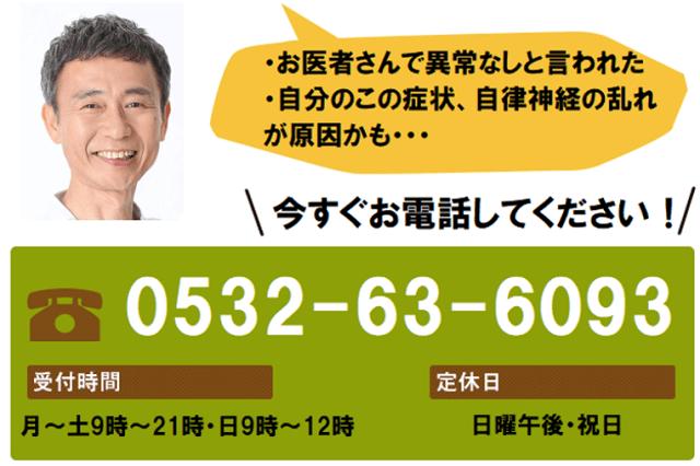 自律神経の乱れを整える鍼灸施術 伝馬町鍼灸院 完全予約制 ご予約・お問い合わせは今スグこちらへお電話して下さい。電話番号(0532)63-6093