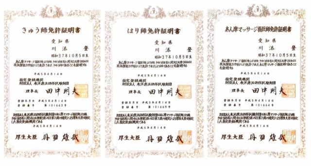 はり師、きゅう師、あん摩マッサージ指圧師の免許証
